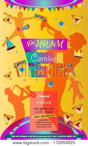 Happy Purim Carnival, Festival, Masquerade Music poster, invitation Holiday Kids party poster design. Children Event with traditional hamantaschen cookies, toy grogger noisemaker, confetti, carnival mask