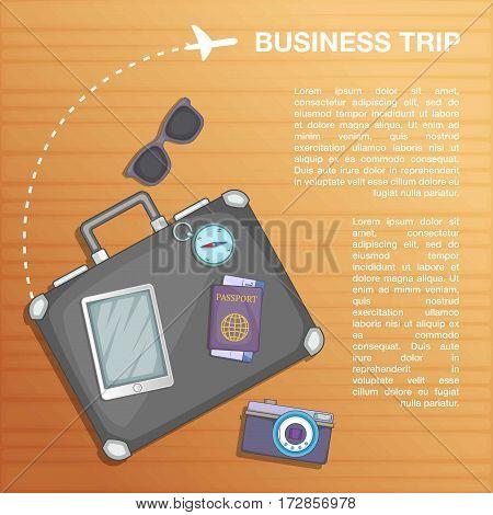 Travel concept plan. Cartoon illustration of travel concept vector concept for web