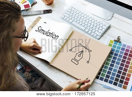 Creative Design Content Pen Icon Graphic