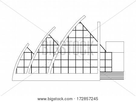 Vector Sketch Architecture Building Project. Amphitheater Opera, Balet, Theater, Art Gallery, Gallery of Modern Art.