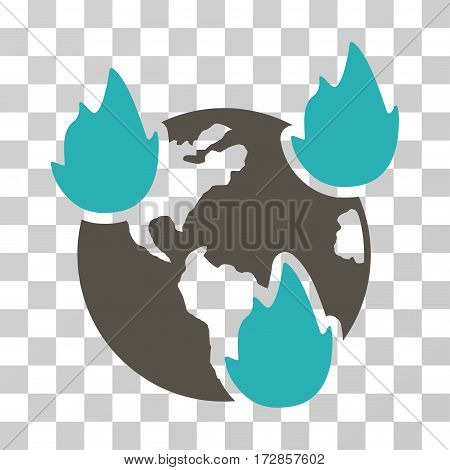 Earth Disasters vector pictograph. Illustration style is flat iconic bicolor grey and cyan symbol on a transparent background.