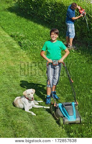 Boy and his father mowing the lawn and trimming the hedge - their dog assisting