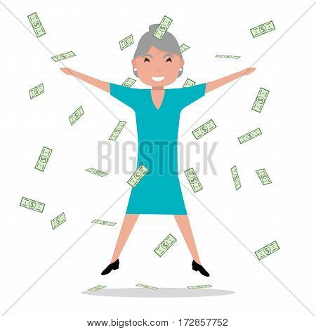Vector illustration cartoon old woman jumping for joy at the falling paper money. Happy grandmother won a prize, winning the lottery. Flat style. Female under rain of cash. Elderly woman millionaire.