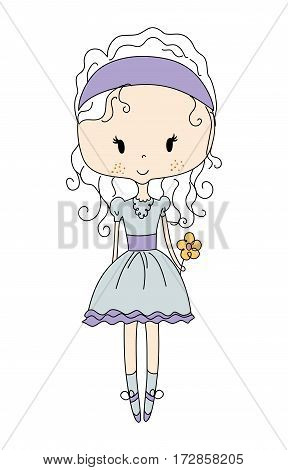 Illustration of a Cute Little Doll Girl with Flower. Design Dress.