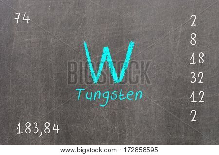 Isolated Blackboard With Periodic Table, Tungsten