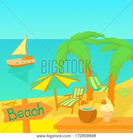 Sea travel concept. Cartoon illustration of sea travel vector concept for web