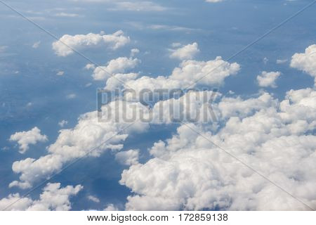 blue sky and white cloud natural background high view