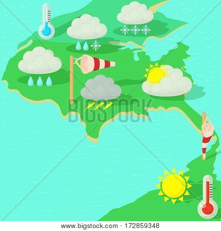 Weather symbols concept map. Cartoon illustration of weather symbols vector concept for web