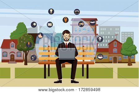 Marketing technology concept man. Cartoon illustration of marketing technology vector concept for web