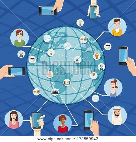Marketing technology concept global. Cartoon illustration of marketing technology vector concept for web