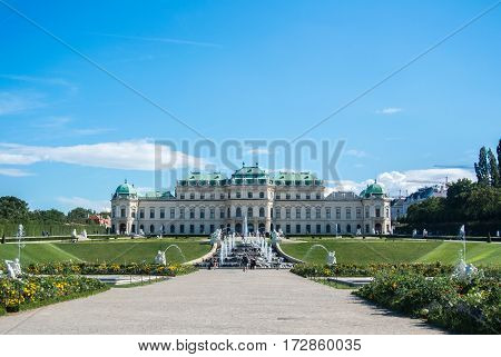 VIENNA AUSTRIA - JULY 29 2016: A view of palace Belvedere in Vienna (Austria) and its garden on sunny summer day.