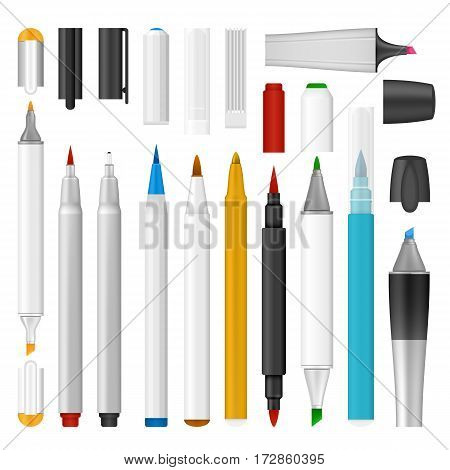 Felt-tip pen marker mockup set. Realistic illustration of 10 felt-tip pen marker mockup for web
