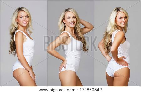 Fit and sporty girl in white underwear. Beautiful and healthy woman posing over grey background. Sport, fitness, diet, weight loss and healthcare concept. Set collection.