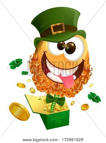 Smile jester in hat Patrick jumps out of box. Isolated on white vector illustration