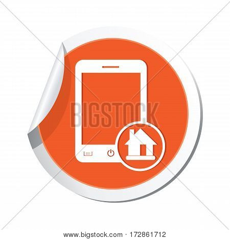 Phone with home menu icon on the sticker. Vector illustration