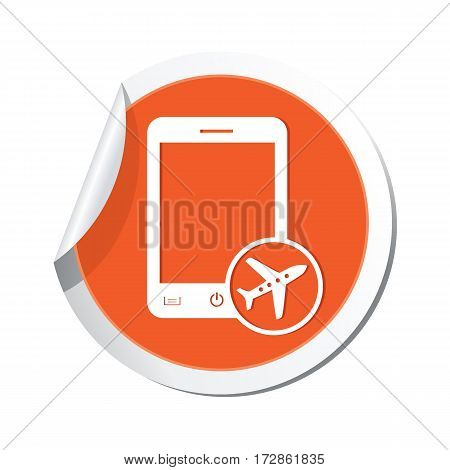 Phone with in plane mode icon on the sticker. Vector illustration