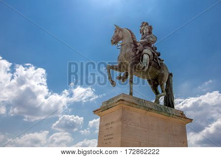 Statue of Louis XIV in Palace of Versailles