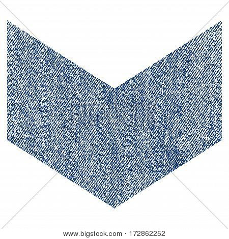 Direction Down vector textured icon for overlay watermark stamps. Blue jeans fabric vectorized texture. Symbol with scratched design. Blue ink rubber seal stamp with fiber textile structure.