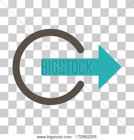 Logout vector icon. Illustration style is flat iconic bicolor grey and cyan symbol on a transparent background.