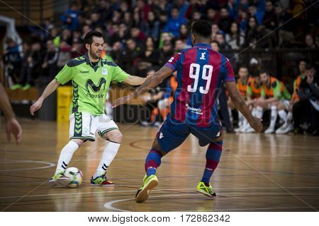 VALENCIA, SPAIN - FEBRUARY 19: Rafael with ball during Spanish league match between Levante UD FS and Movistar Inter at Cabanyal Stadium on February 19, 2017 in Valencia, Spain