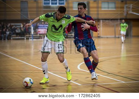 VALENCIA, SPAIN - FEBRUARY 19: (L) Taffy and Berrocal during Spanish league match between Levante UD FS and Movistar Inter at Cabanyal Stadium on February 19, 2017 in Valencia, Spain