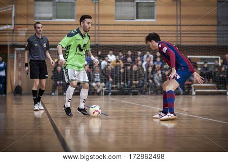 VALENCIA, SPAIN - FEBRUARY 19: Rivillos with ball during Spanish league match between Levante UD FS and Movistar Inter at Cabanyal Stadium on February 19, 2017 in Valencia, Spain