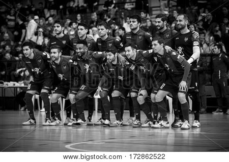 VALENCIA, SPAIN - FEBRUARY 19: Levante players during Spanish league match between Levante UD FS and Movistar Inter at Cabanyal Stadium on February 19, 2017 in Valencia, Spain