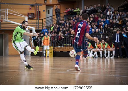 VALENCIA, SPAIN - FEBRUARY 19: Ricardinho with ball during Spanish league match between Levante UD FS and Movistar Inter at Cabanyal Stadium on February 19, 2017 in Valencia, Spain