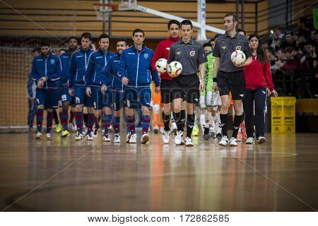 VALENCIA, SPAIN - FEBRUARY 19: All players during Spanish league match between Levante UD FS and Movistar Inter at Cabanyal Stadium on February 19, 2017 in Valencia, Spain