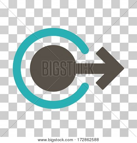 Logout vector pictograph. Illustration style is flat iconic bicolor grey and cyan symbol on a transparent background.