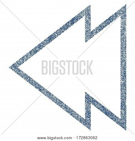Direction Left vector textured icon for overlay watermark stamps. Blue jeans fabric vectorized texture. Symbol with unclean design. Blue ink rubber seal stamp with fiber textile structure.
