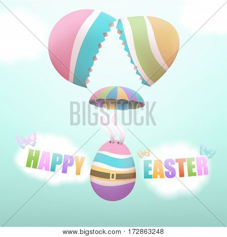 Colorful Easter egg with bunny's ears parachuting from big broken egg with butterflies and clouds in the sky