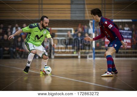 VALENCIA, SPAIN - FEBRUARY 19: (L) Ricardinho during Spanish league match between Levante UD FS and Movistar Inter at Cabanyal Stadium on February 19, 2017 in Valencia, Spain