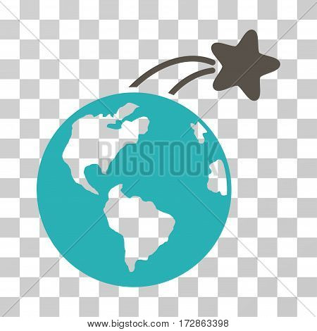 Rising Satellite On Earth vector icon. Illustration style is flat iconic bicolor grey and cyan symbol on a transparent background.