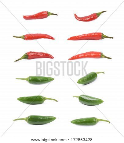 Red hot italian and green jalapeno peppers, set of multiple different foreshortenings