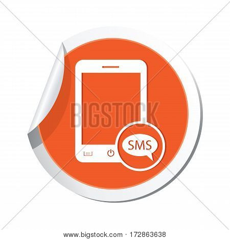 Phone icon with sms menu on the sticker. Vector illustration