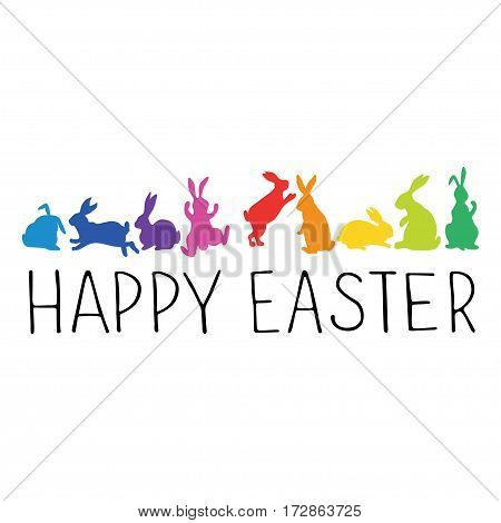 Happy Easter Header with bunnies silhouettes in rainbow colors.. Vector illustration.
