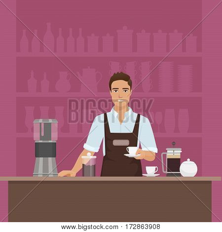 A smiling young man barista preparing coffee with coffee-machine vector in cafe restaurant