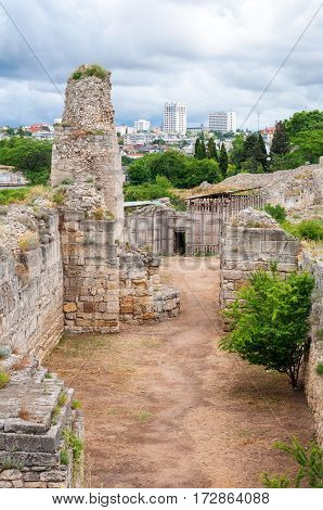 The remains of the ancient city of Chersonesus. Founded by the ancient Greeks. Hersones ruins, archaeological park, Sevastopol, Crimea.