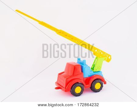 Children's toy car on a white background multicolored
