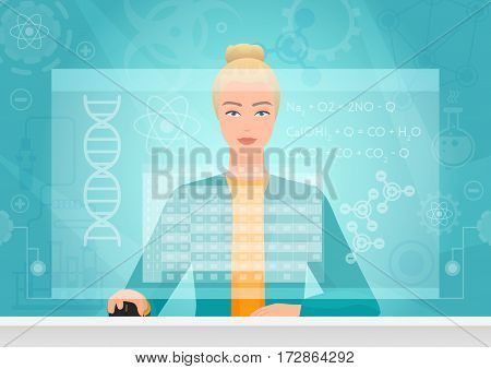 Chemist genetics biology woman working using virtual media interface. Chemist bioengineer working with formula table virtual on the virtual screen