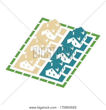 Isometric cluster house, for real estate brochures or web icon. Vector illustration on white background