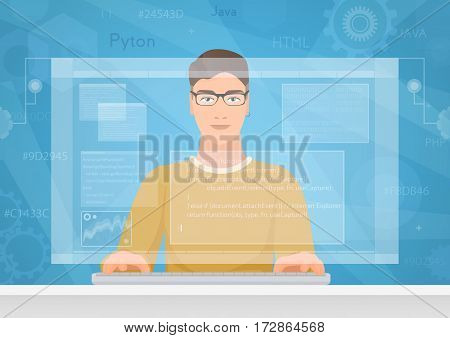 Man software engineer concept with design, optimization, responsive and developer solutions. Coder Engineer working with programm code on virtual screen