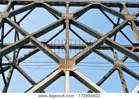 Construction of old railway bridge as background