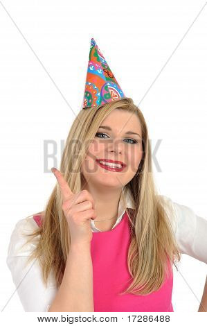 Pretty Party Female Celebrating Birthsday . Isolated