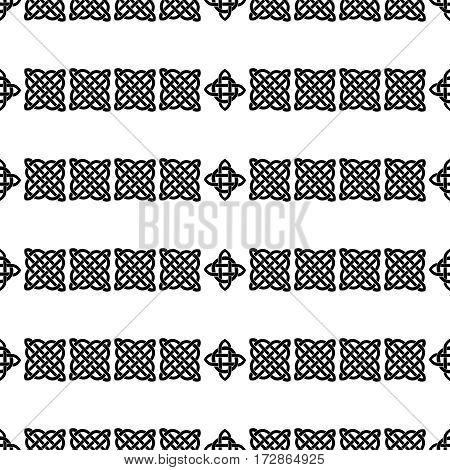 Celtic knot seamless black and white pattern. ethnic abstract background.