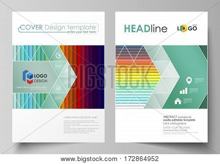 Business templates for brochure, magazine, flyer, booklet or annual report. Cover design template, easy editable vector, abstract flat layout in A4 size. Bright color rectangles, colorful design with overlapping geometric rectangular shapes forming abstra