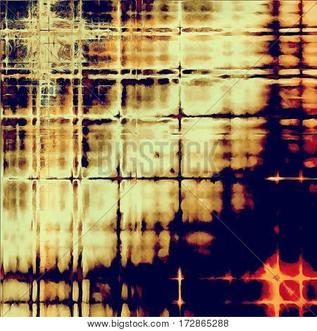 Geometric grunge texture or background with retro design elements and different color patterns: yellow (beige); brown; blue; red (orange)