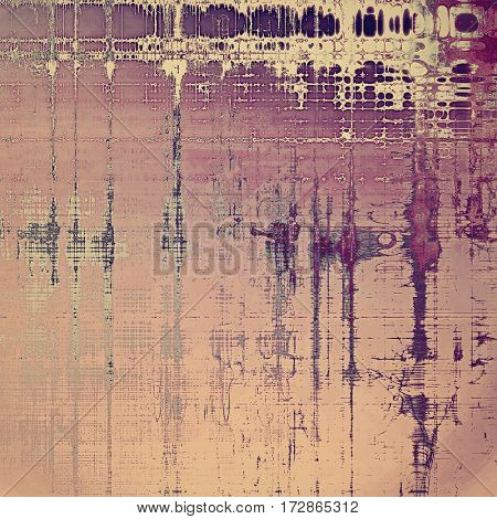 Grunge design composition over ancient vintage texture. Creative background with different color patterns: yellow (beige); gray; purple (violet); pink