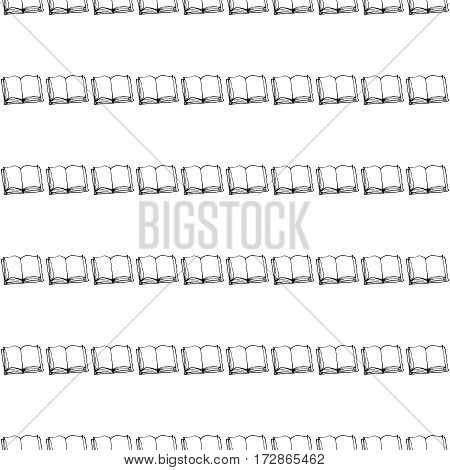 Seamless vector doodle pattern with rows of books. Reading and education concept. Black and white.